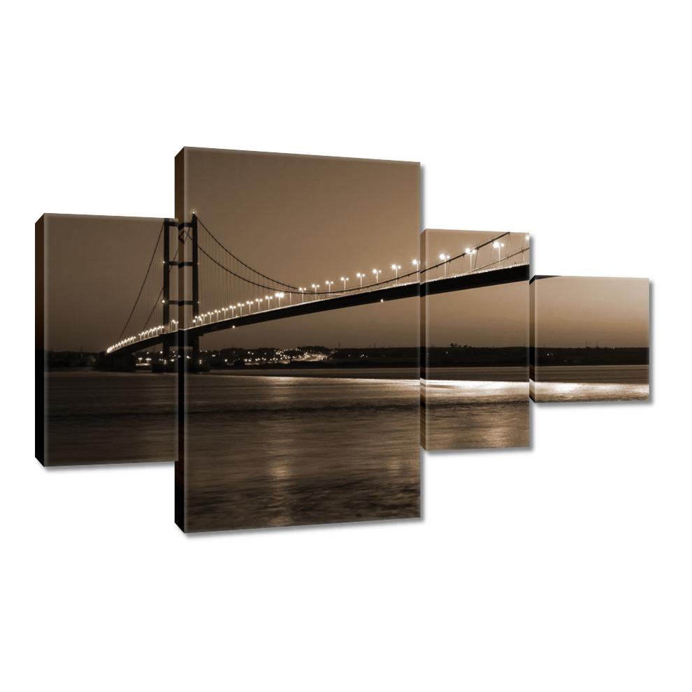 Obrazy 130x80 Zdjęcie w stylu sepia Most nocą