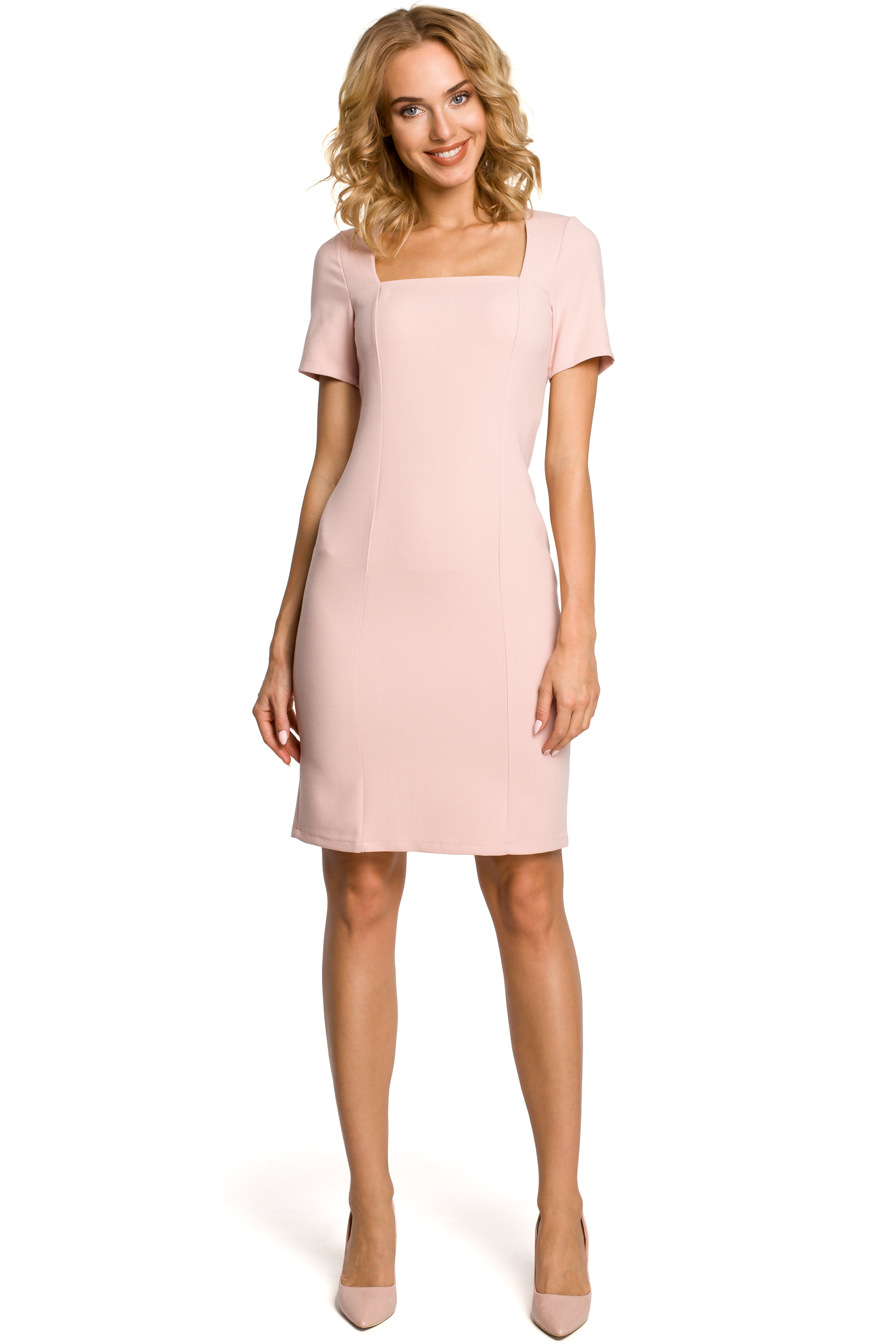 fe0c54f8b6 Dopasowana sukienka z dekoltem karo - pudrowa - 7318669167 ...