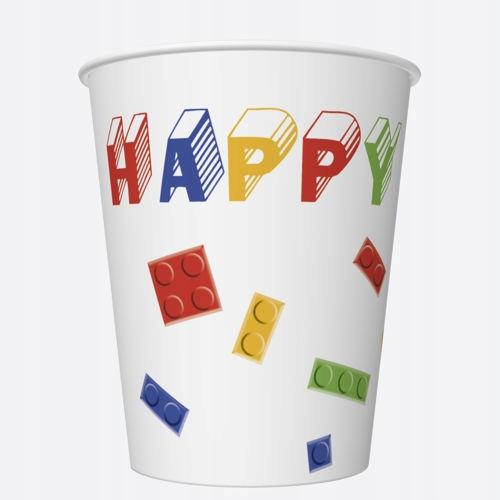 Kubeczki papierowe Happy Birthday Klocki 250ml 8sz
