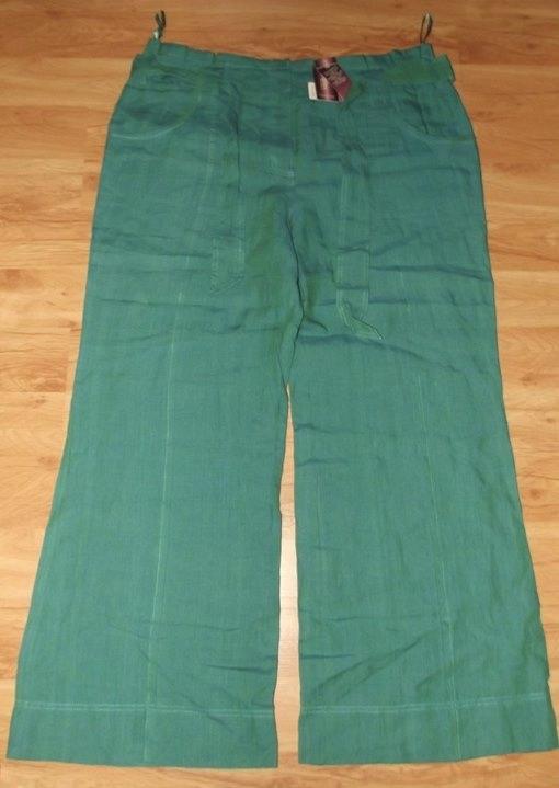 Wyprzedaż-Nowe spodnie lniane+pasek duży rozm.46
