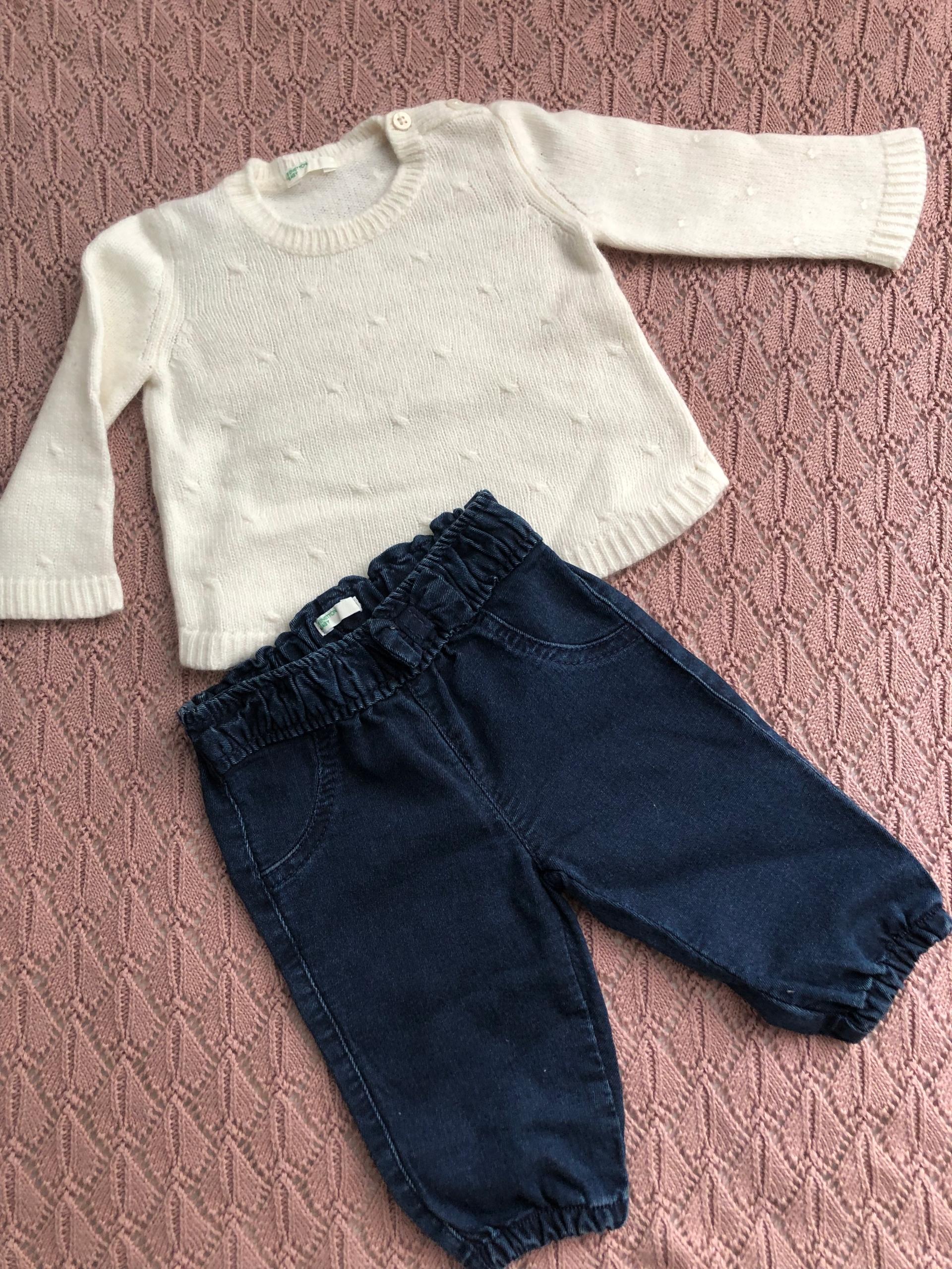 Benetton baby komplet spodnie sweterek newbie