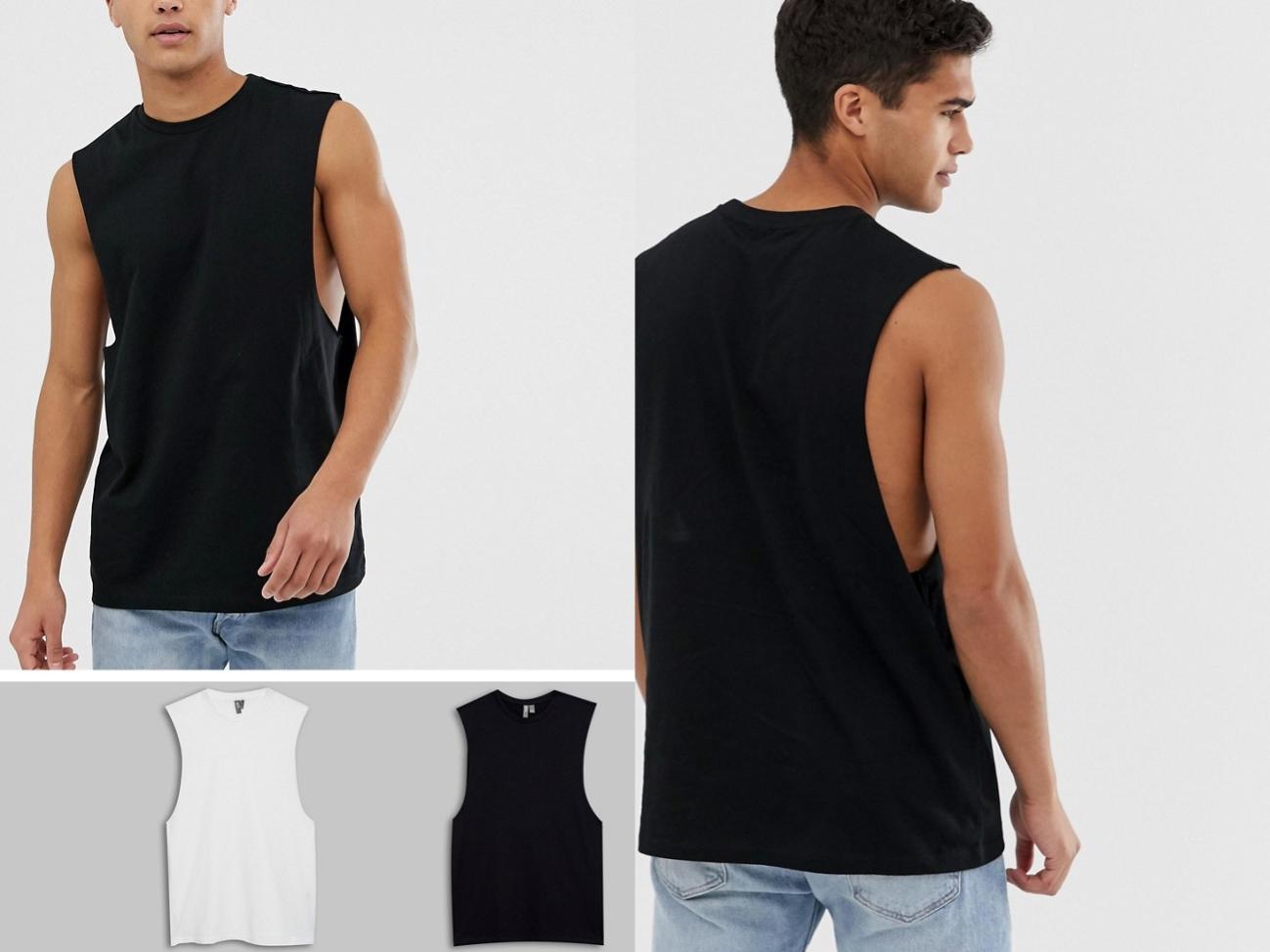 2 pack koszulek bez rekawów biała czarna M