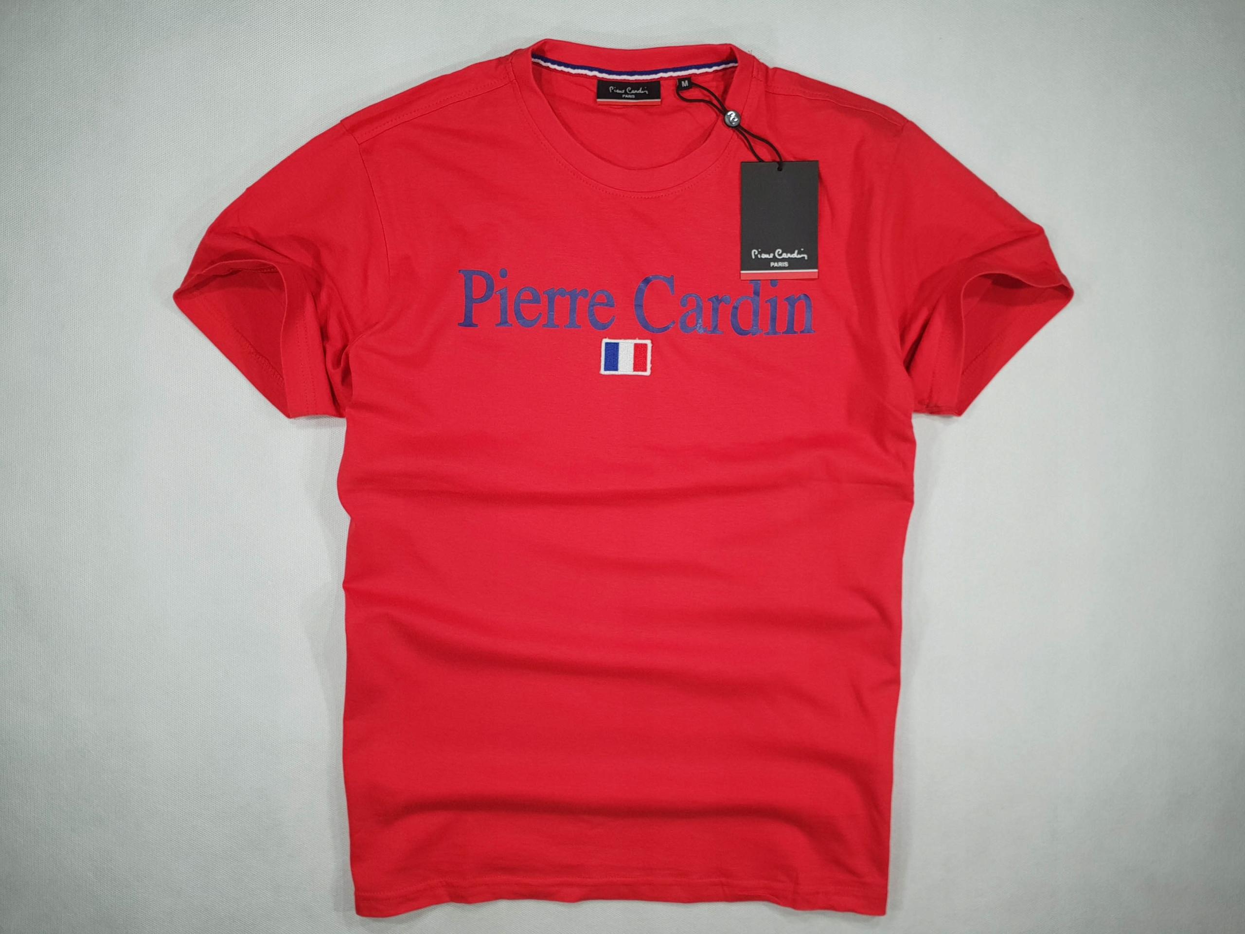 PIERRE CARDIN czerwony t-shirt logo flag NOWY XXL