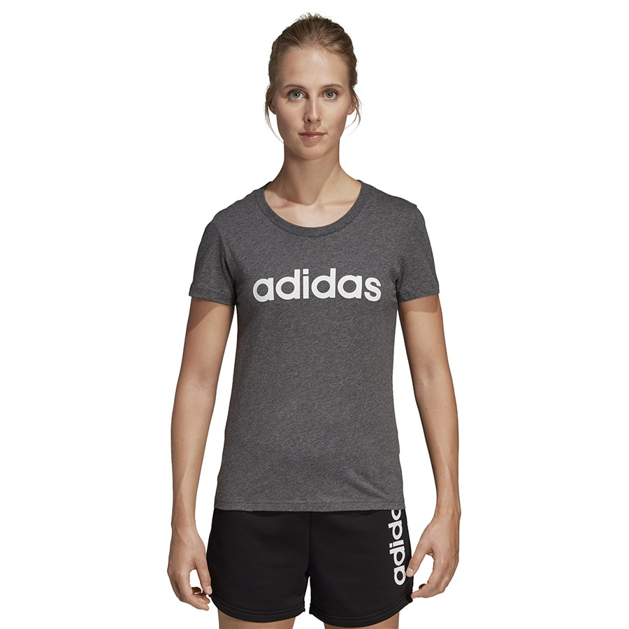 Koszulka adidas W E Linear Slim Tee SX2546 szary S