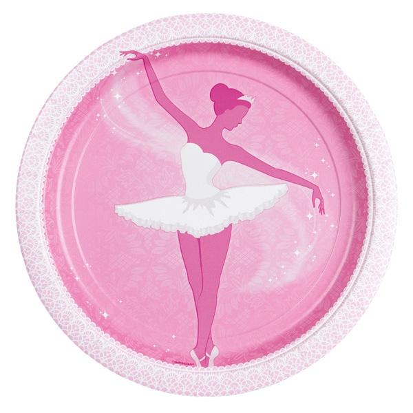 Talerzyki Baletnica różowe 23 cm 8 szt.