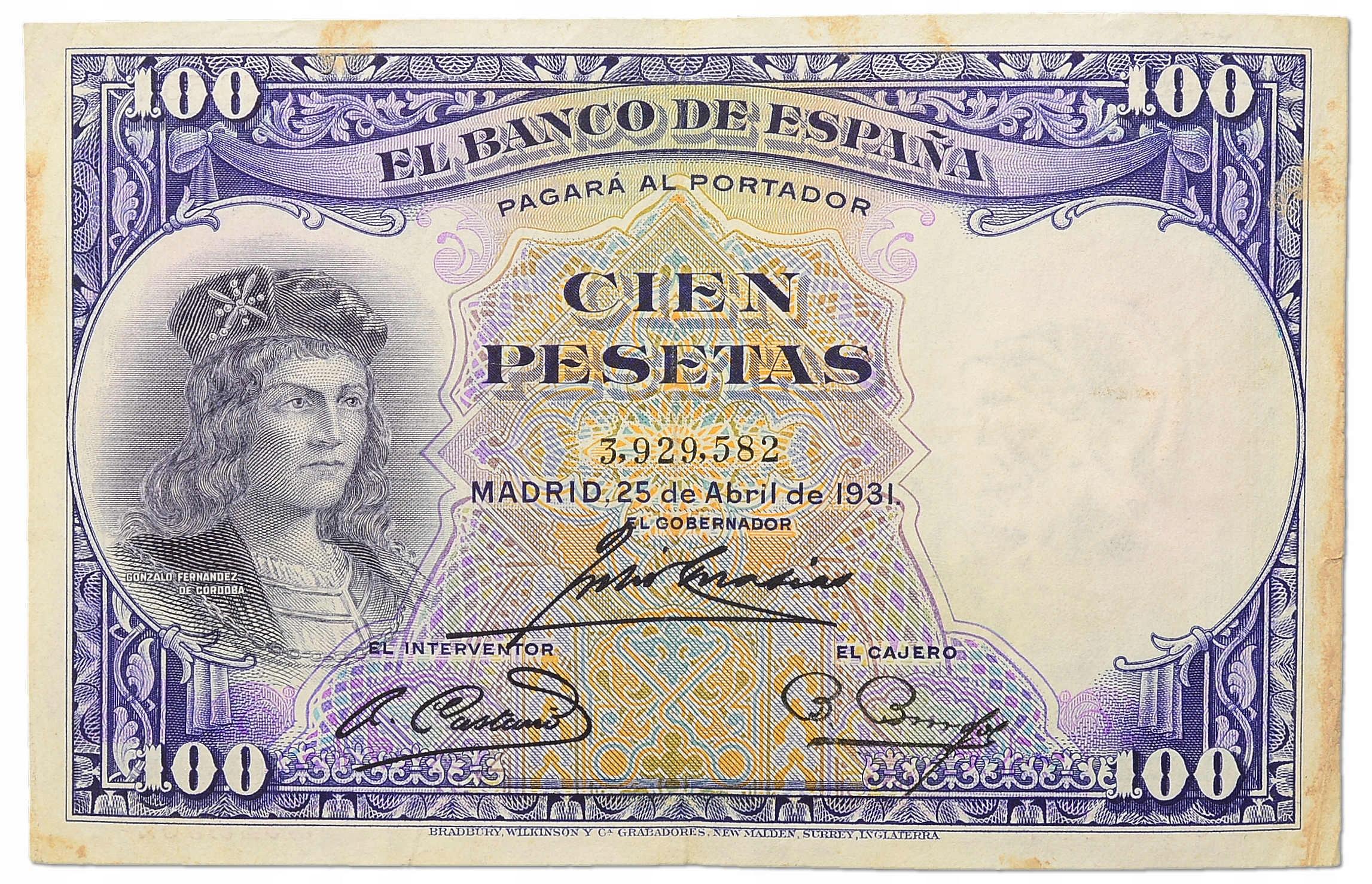 11.Hiszpania, 100 Peset 1931, P.83, St.3