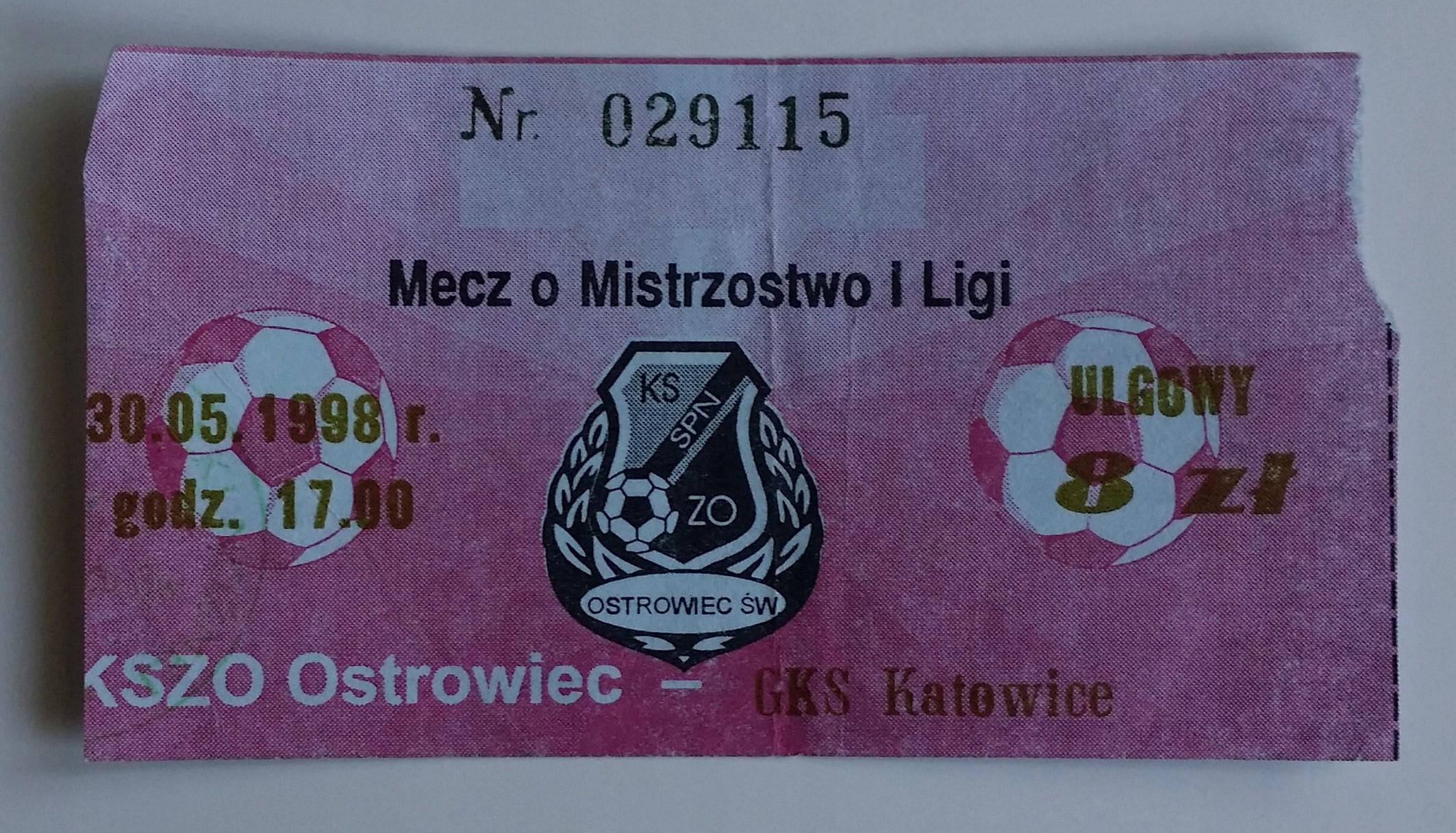 Bilet KSZO Ostrowiec - GKS Katowice 30.05.1998