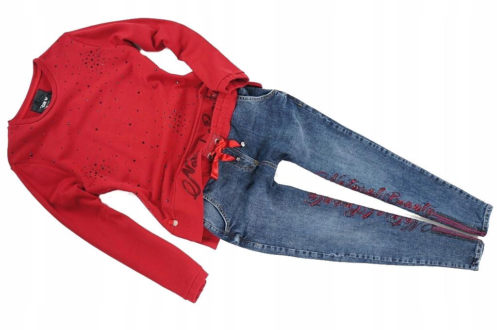 Raw Denim czerwona bluza + sportowe jeansy - M