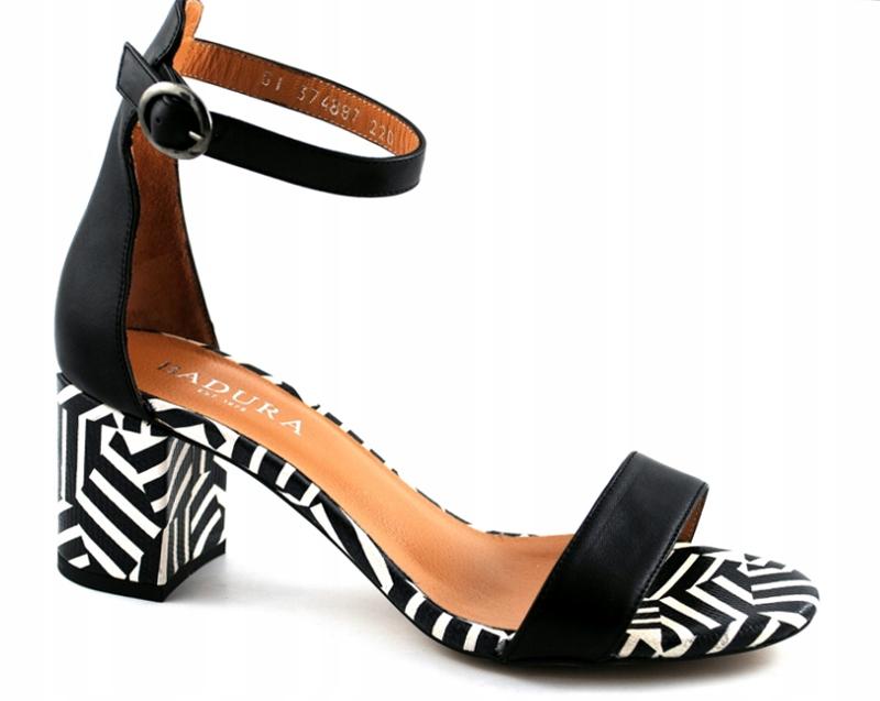 Badura 4887 sandały na obcasie czarne skóra R.36