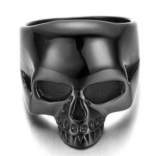 ROCK SHOCK IronCross Pierścień Black Skull 28