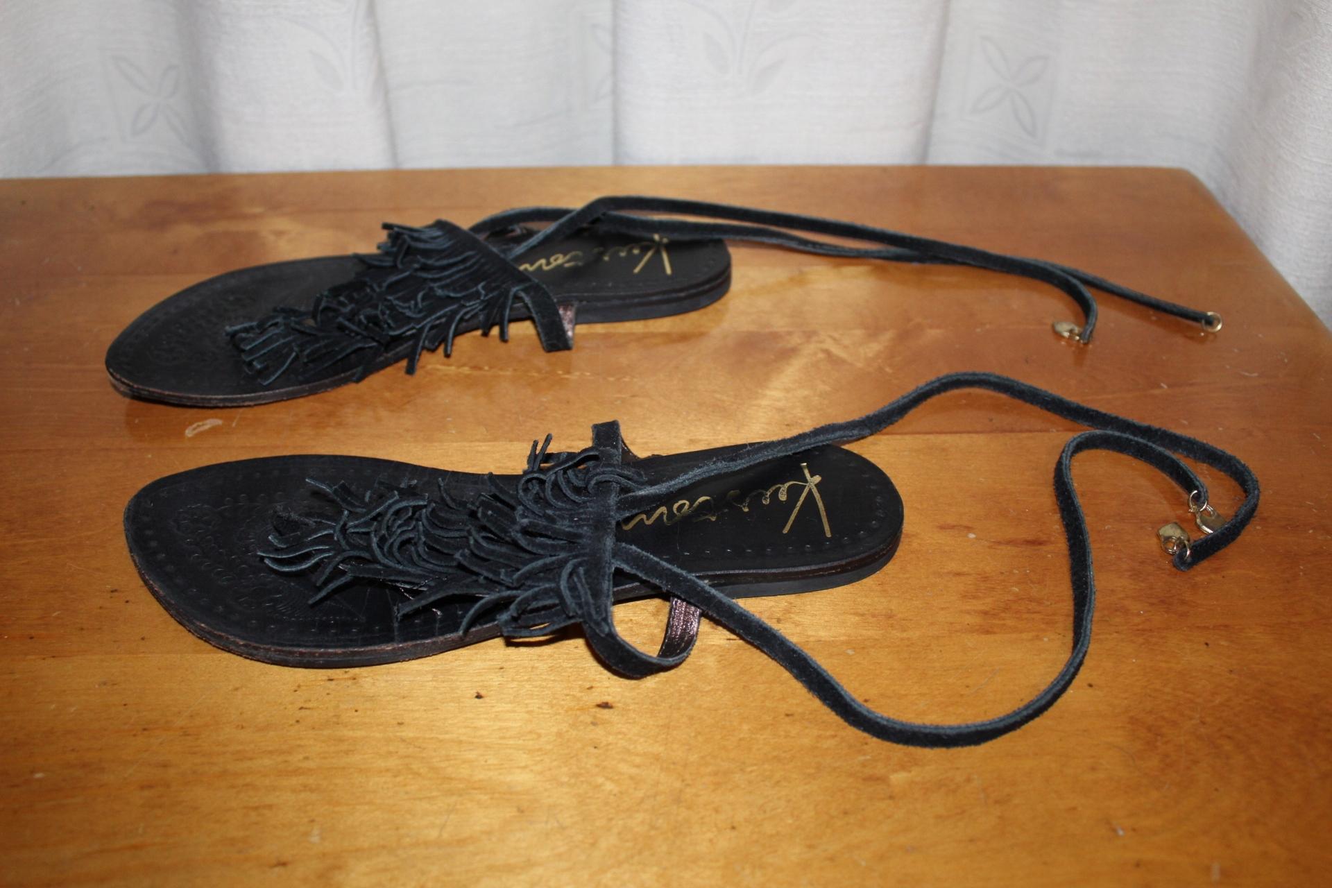 Sandały Japonki Skóra Zamsz 37 23,5 cm Kustom
