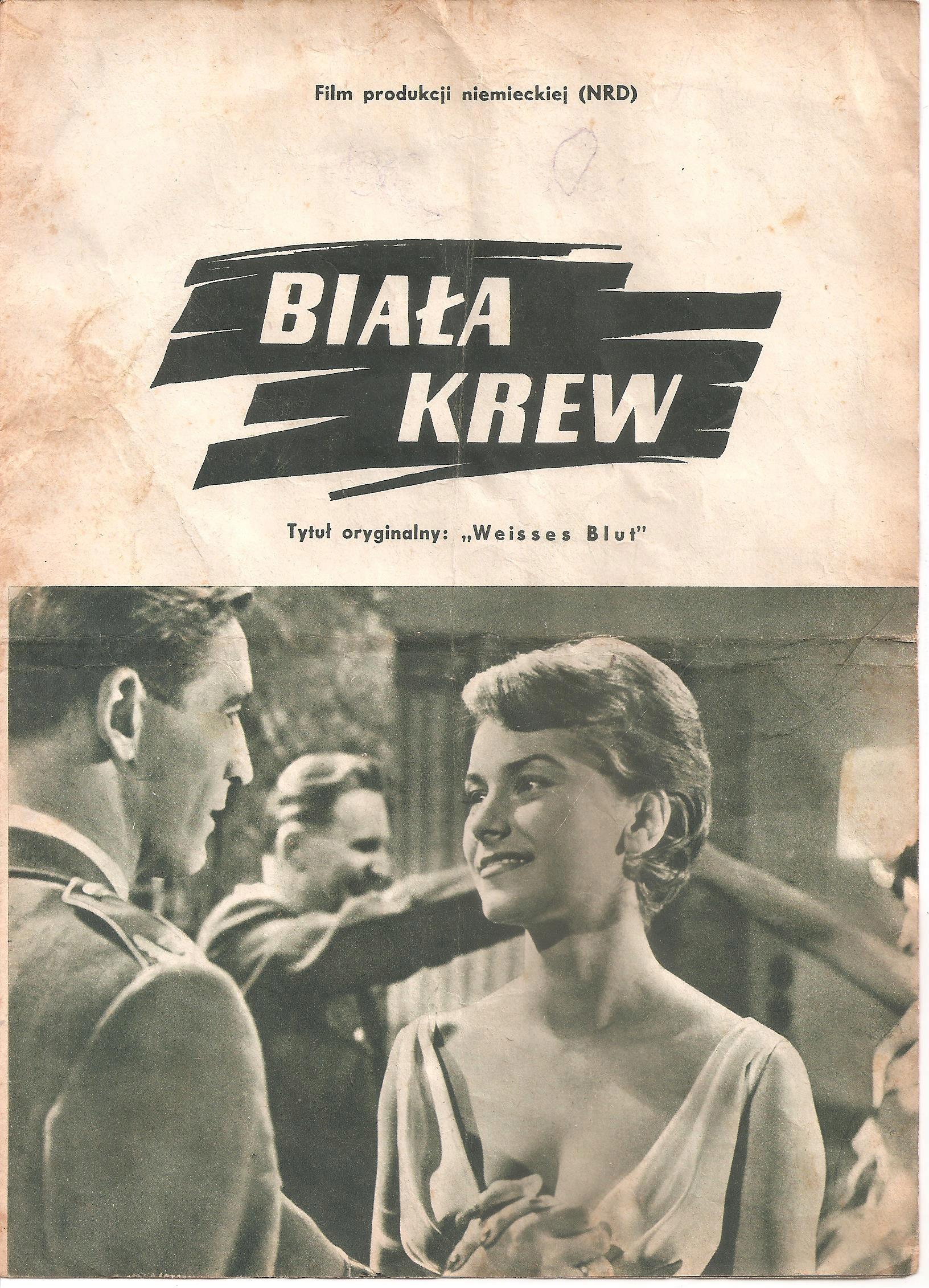 BIAŁA KREW - PROGRAM FILMOWY Z 1960 ROKU.