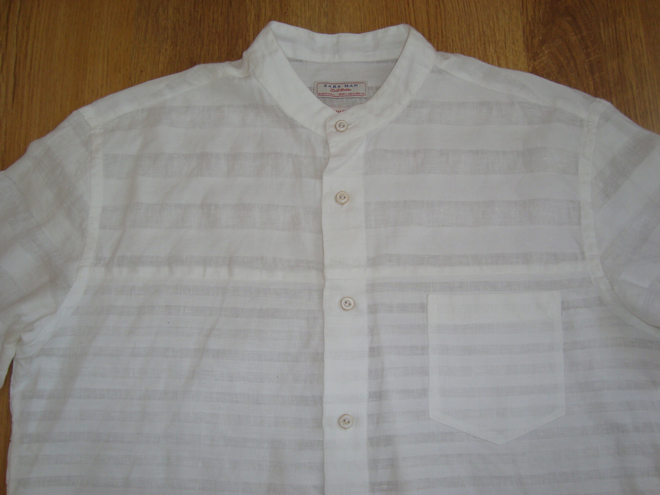 ZARA Lniana męska koszula len biała L stójka