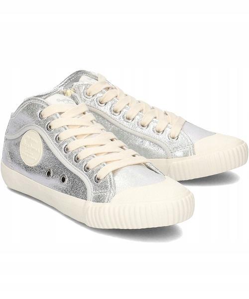 Srebrne buty damskie PEPE JEANS trampki półbuty