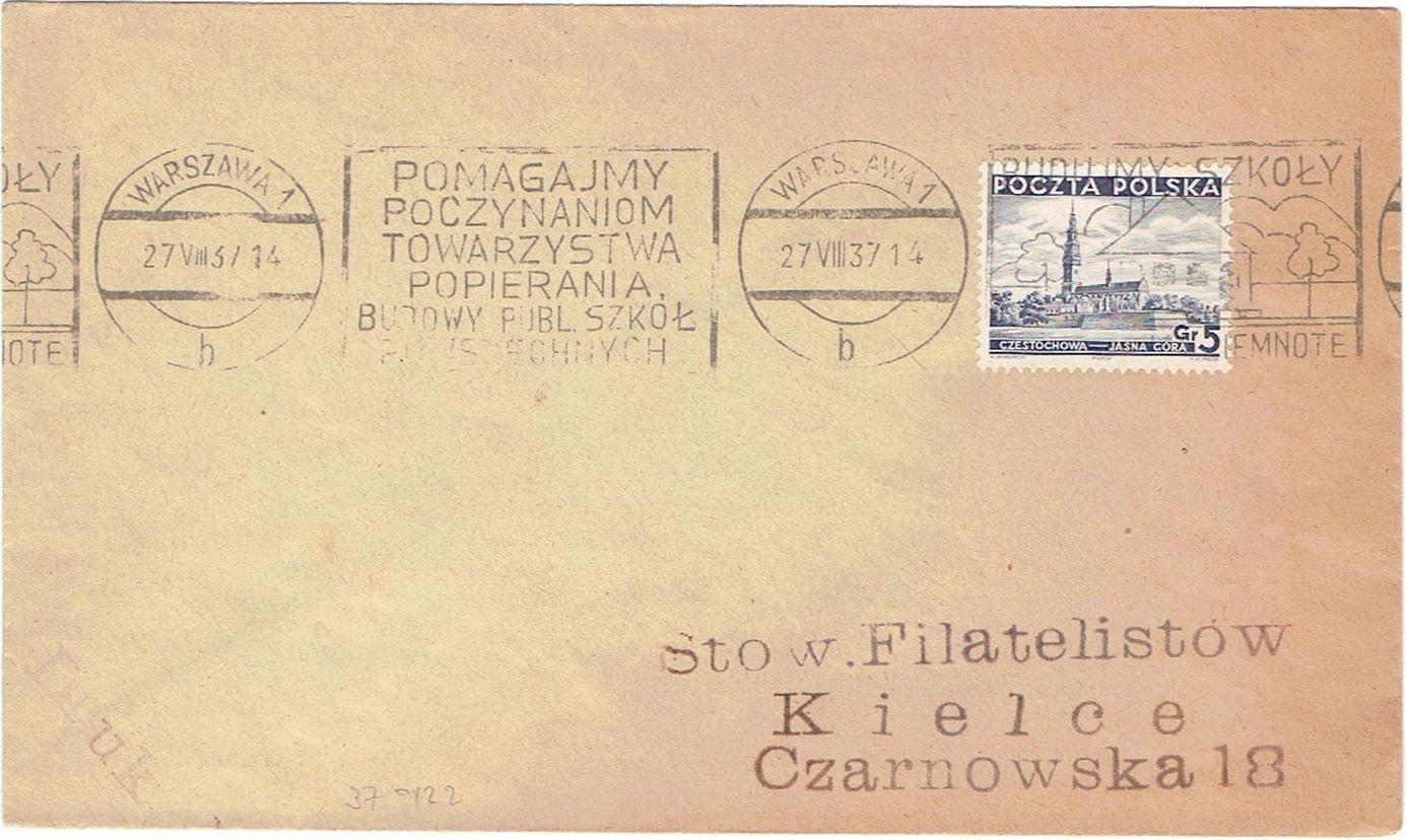 St. okol. Popieranie Budowy szkół Warszawa 1937