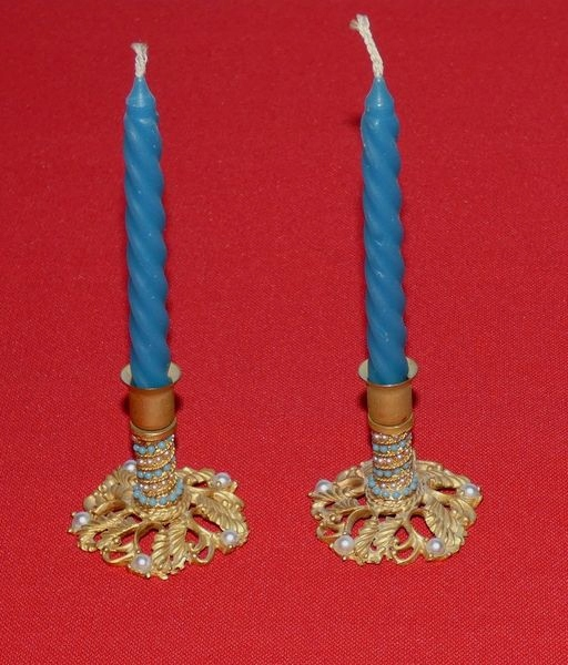 Mini świeczniki z perełkami 2szt.