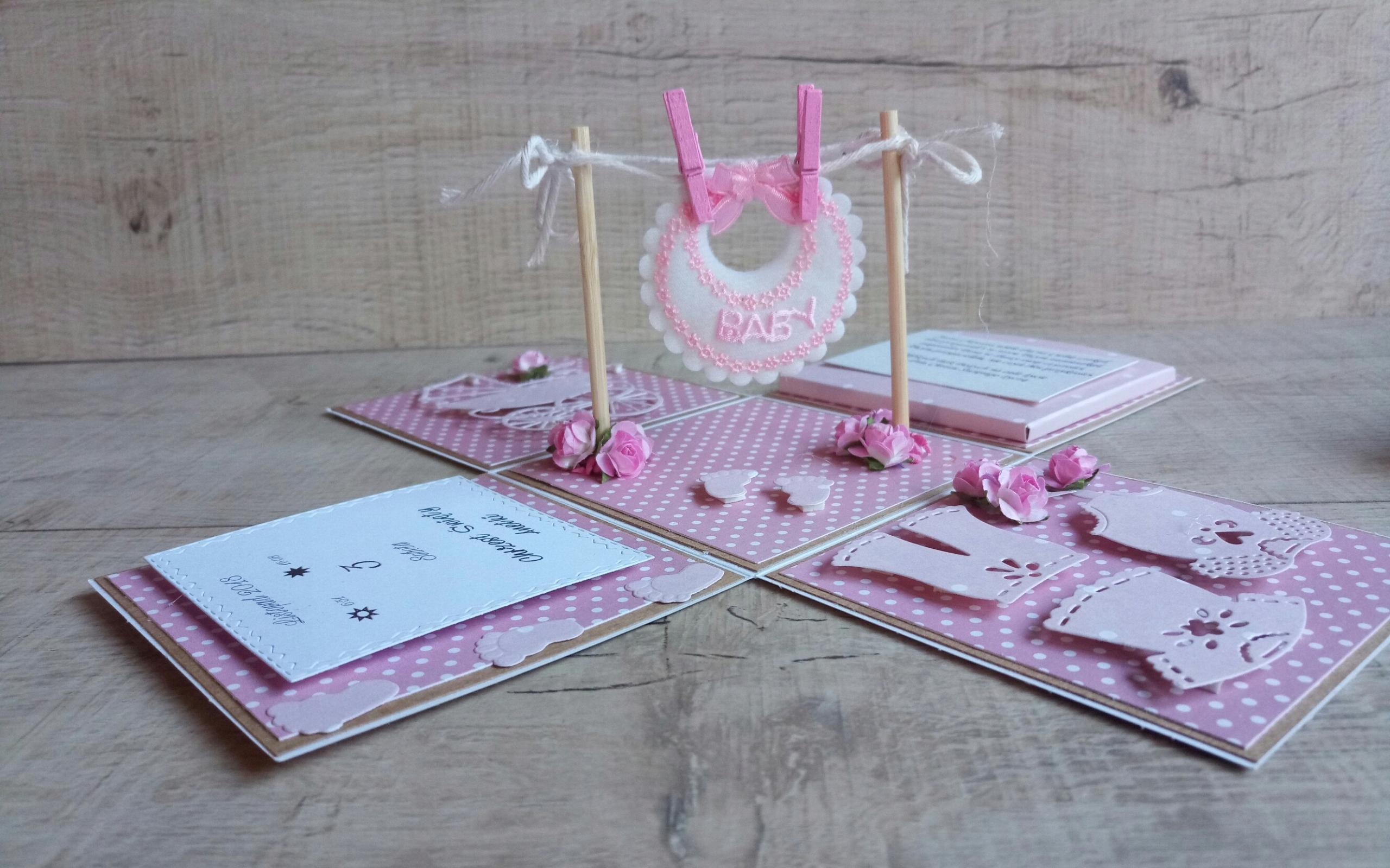exploding box kartka 3d Chrzest Święty różowy