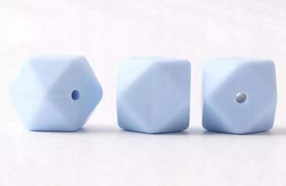 Koraliki silikonowe HEKSAGON , blue 5 szt, 11 mm