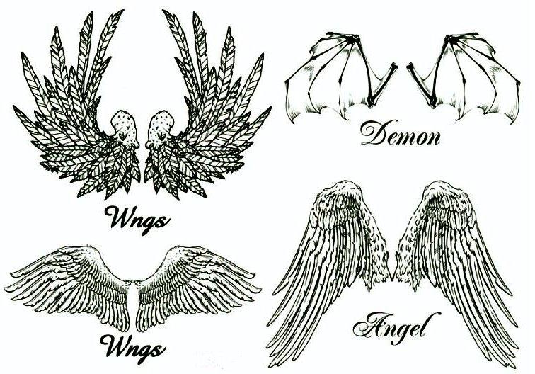 Tatuaż Skrzydła Anioła Demona Naklejka Tm73 7233564891
