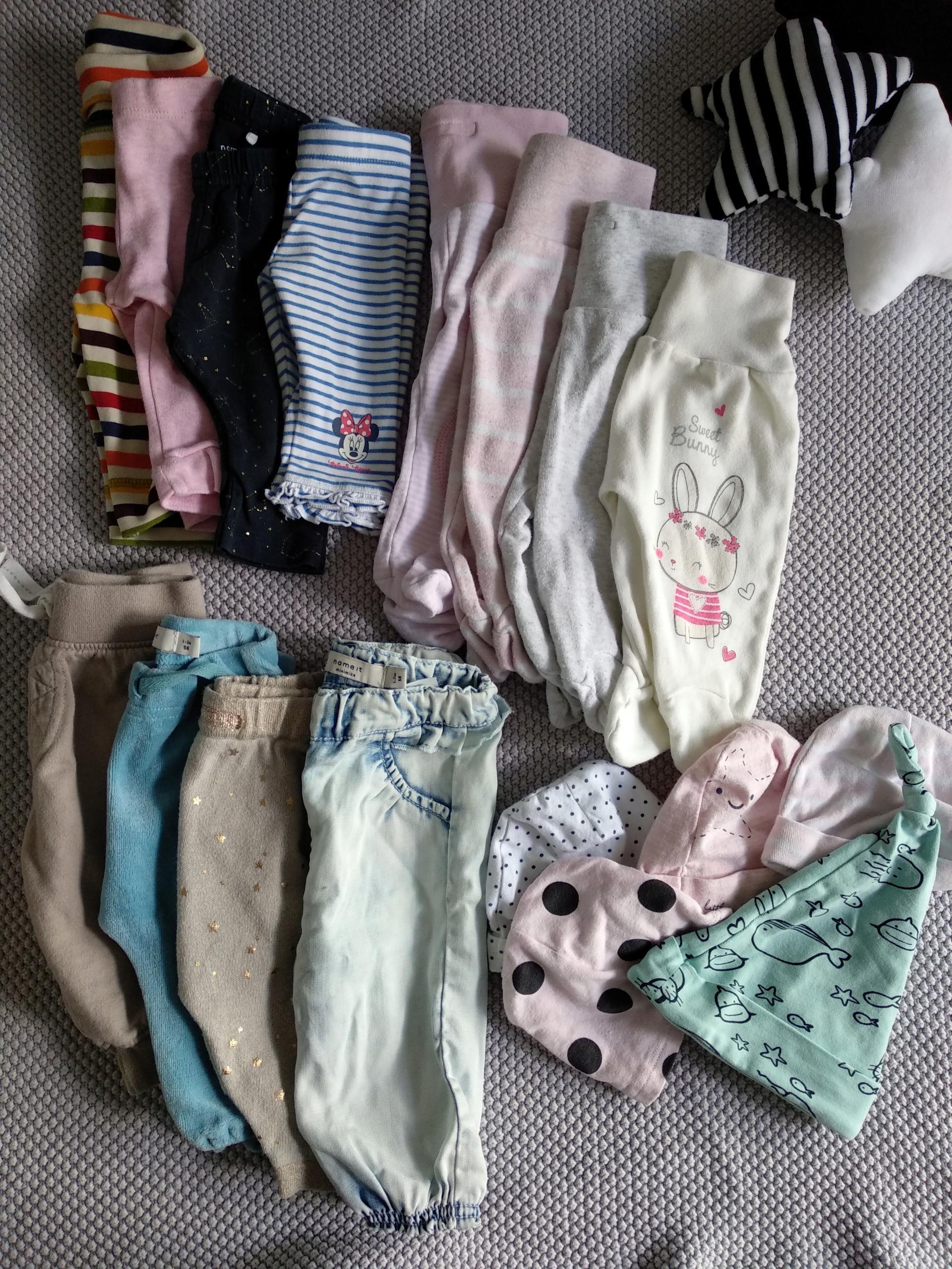 Zestaw - spodnie, półśpiochy, legginsy rozm. 56