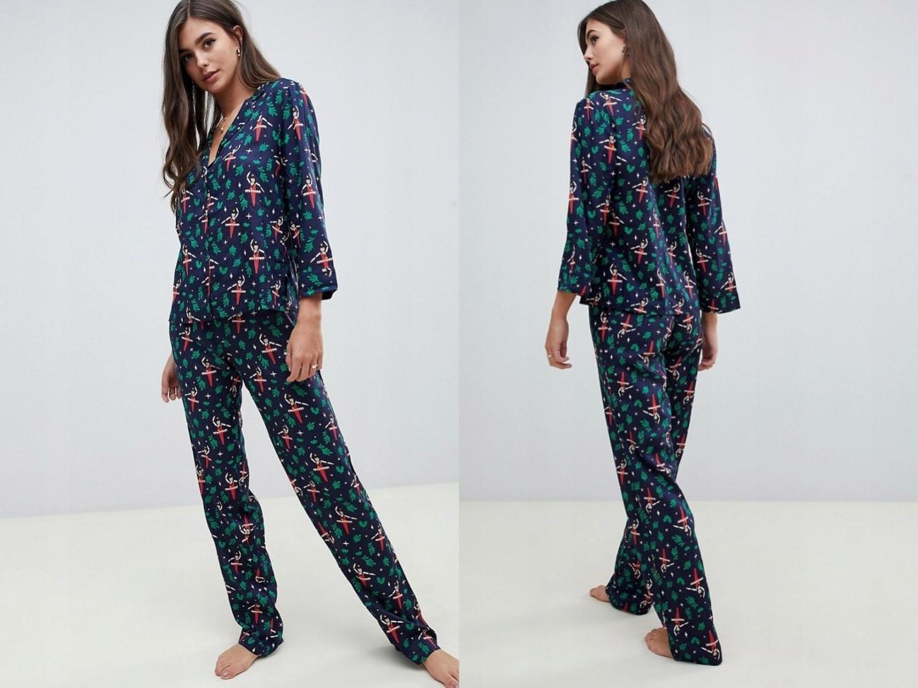 Bluzka i spodnie piżama świąteczny wzór L/XL