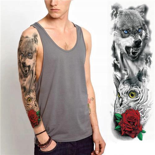 Tatuaż Rękaw 45cm 3d Wilk Wolf Sowa Róża Rose Blue