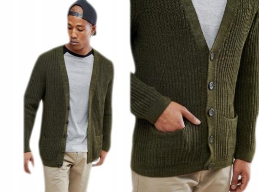 Prążkowany sweter męski khaki guziki kieszenie XS