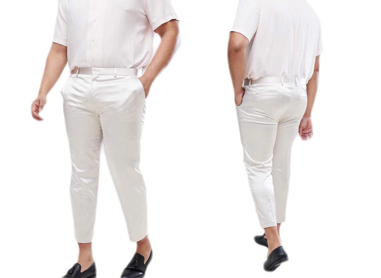 Eleganckie kremowe spodnie męskie w kant W38 L34