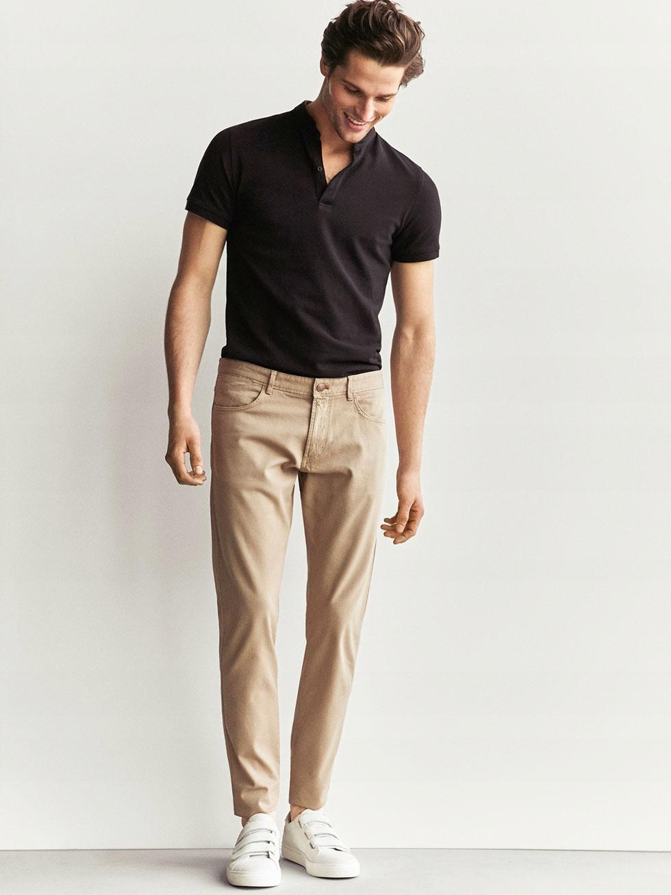 MASSIMO DUTTI beżowe spodnie slim fit 42