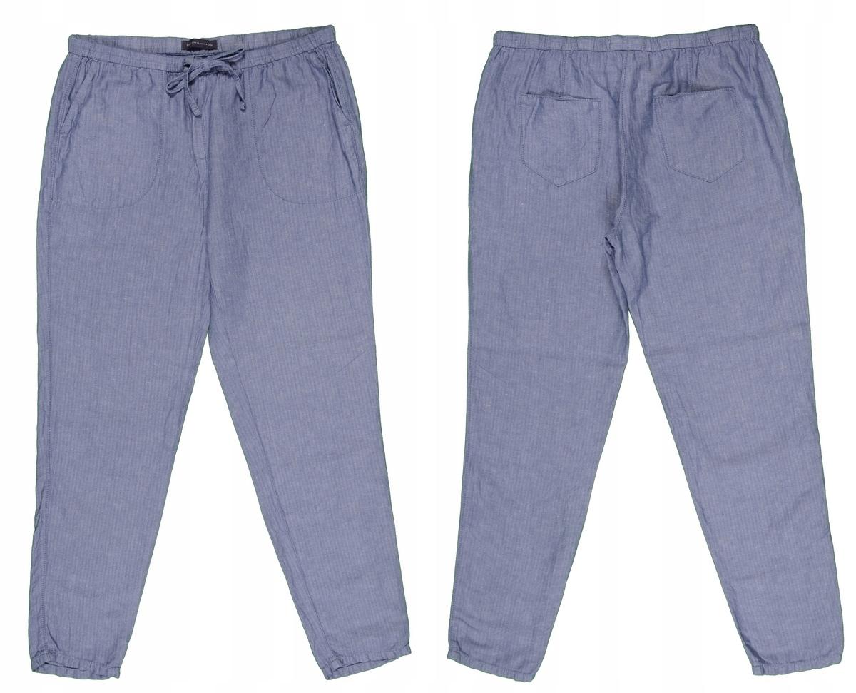 M&S błękitne spodnie damskie z lnem 42 MISIZM