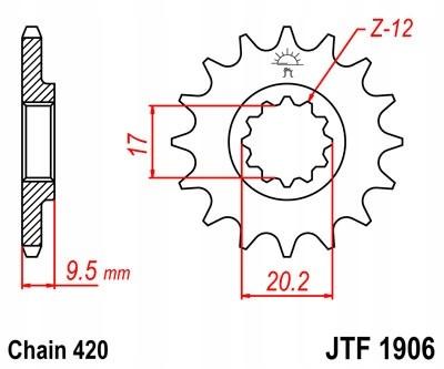 Zębatka przednia JT 14 zębów, KTM 85 SX 04-06