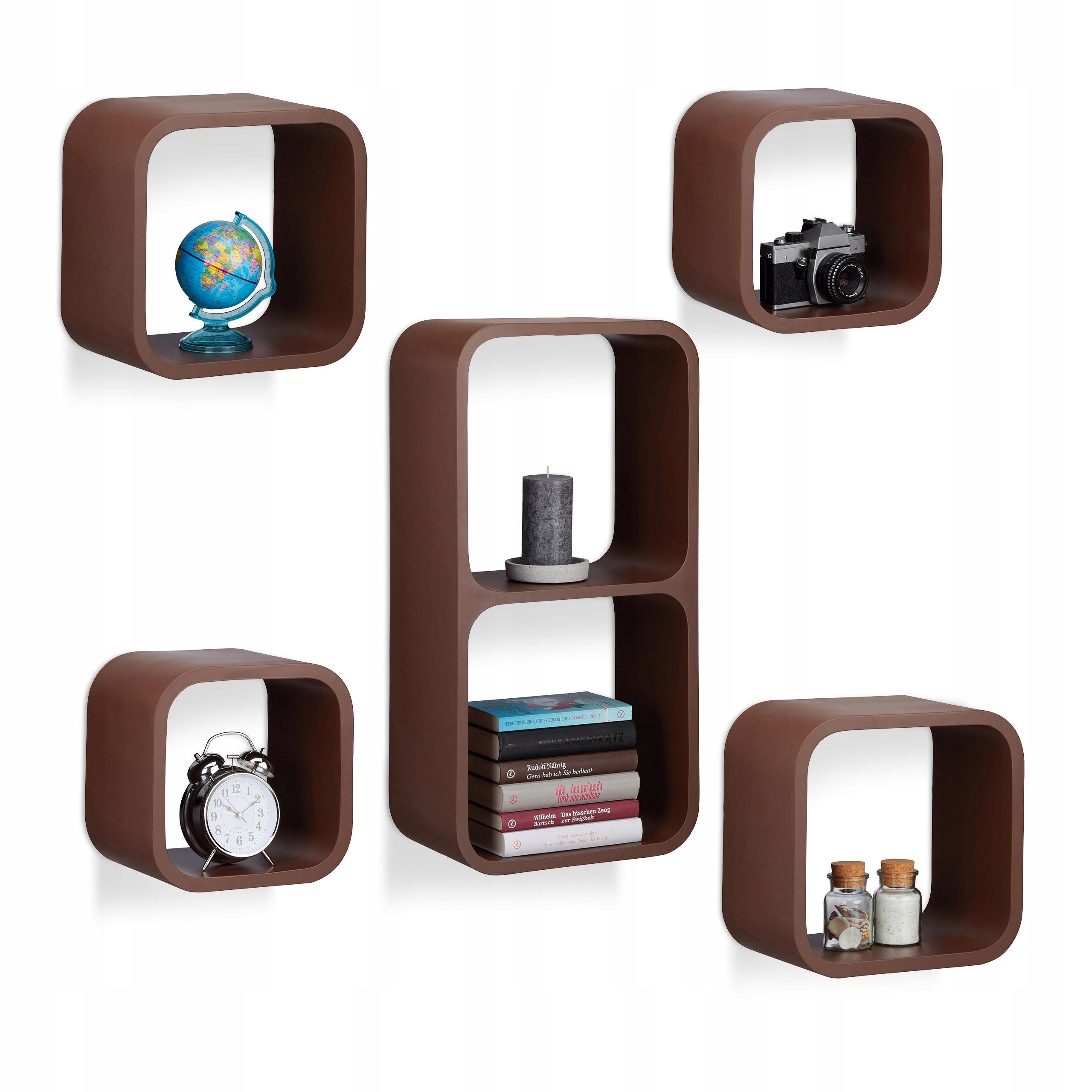 Półki ścienne Wiszące Cube 5 Sztuk Na Cd Książki