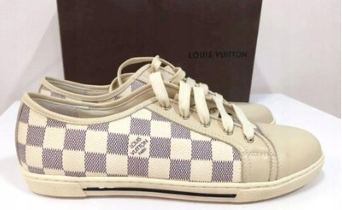 sneakers LV Louis Vuitton damier azur skóra beż 41