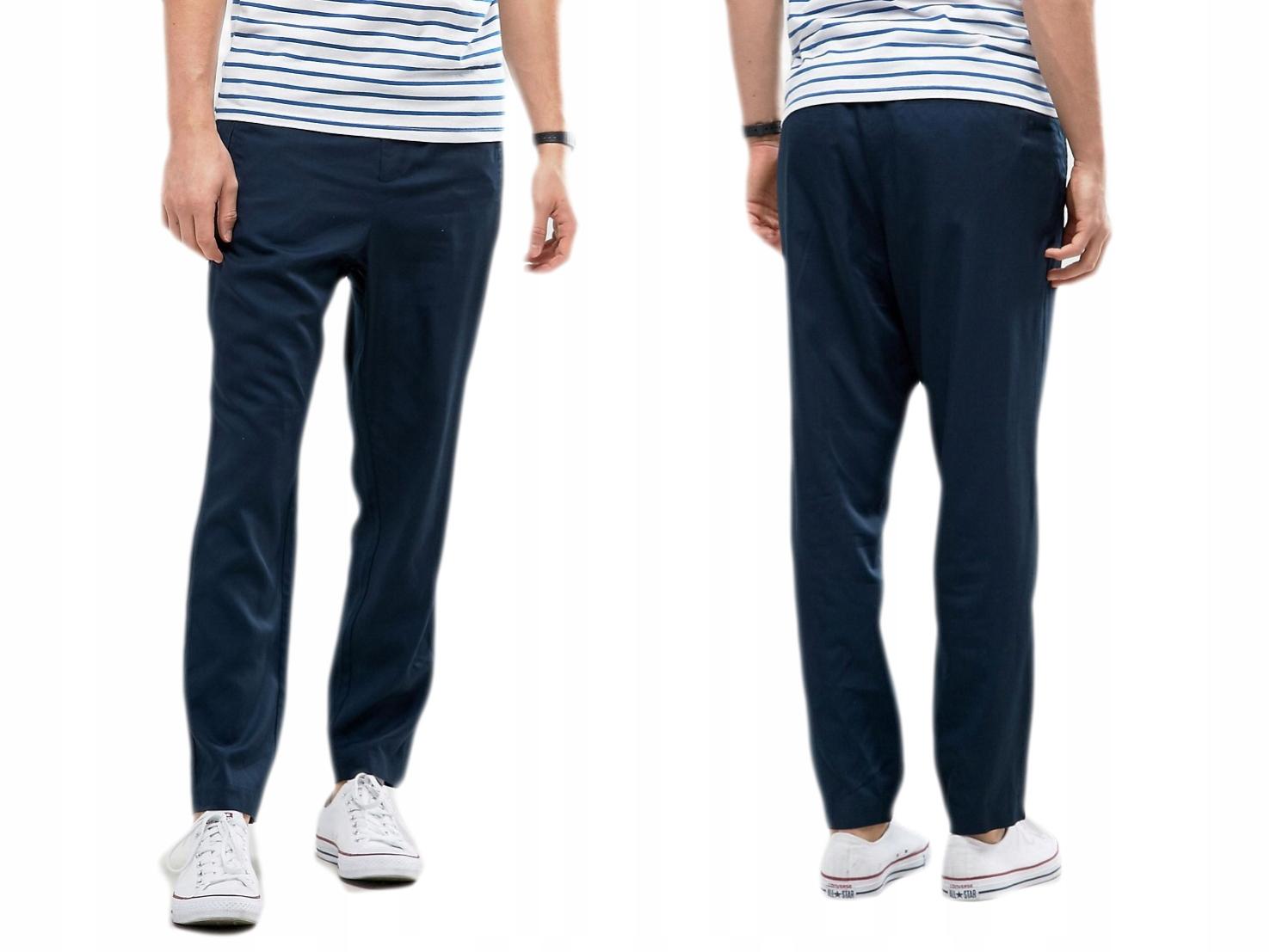 Design-Kiomi granatowe spodnie zamki XL