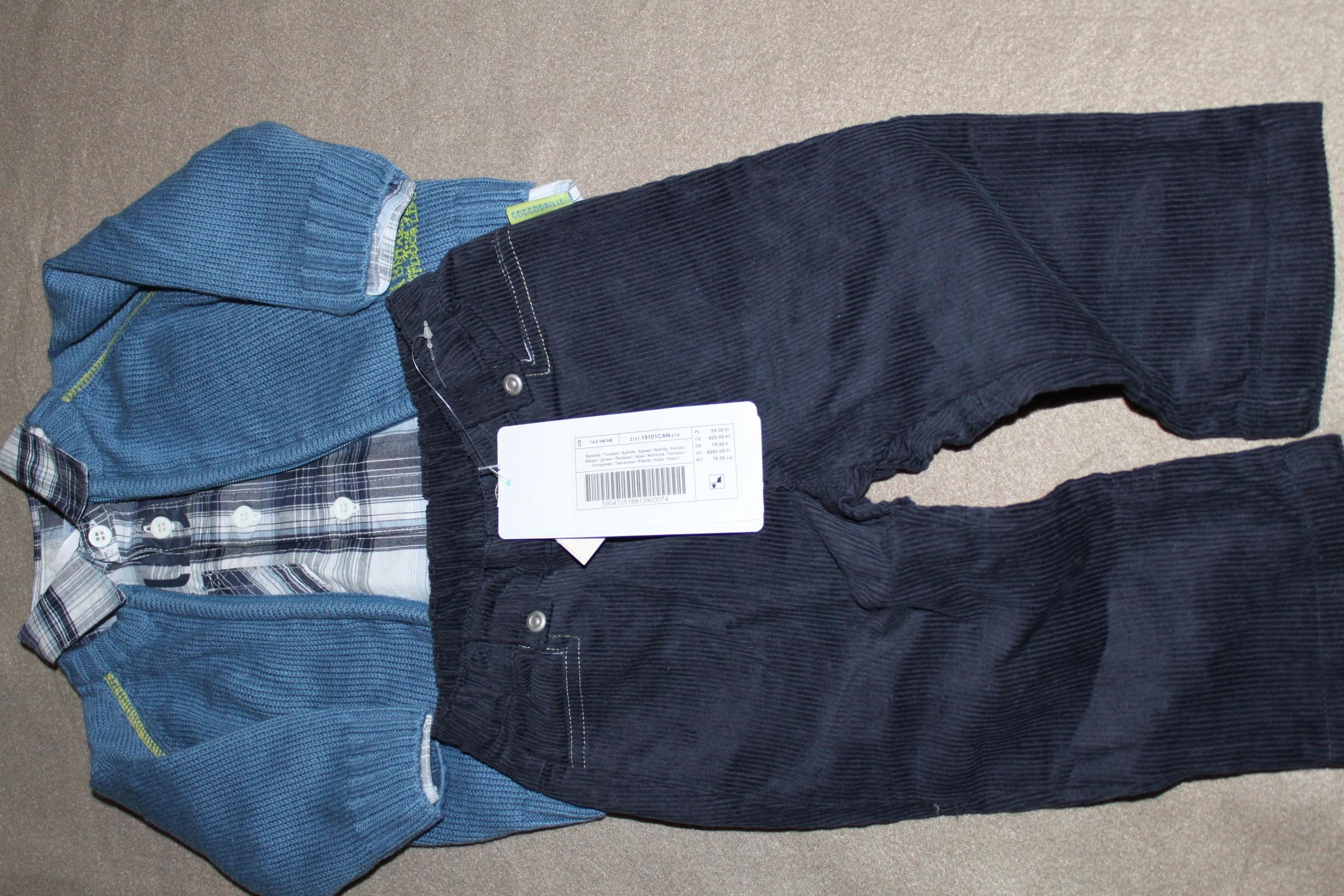 Zestaw rozm.68 / 74 spodnie+ koszula +sweter