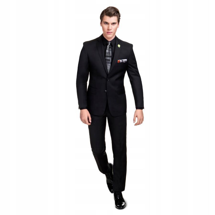 Slimowany czarny garnitur elegancki 170/100/90