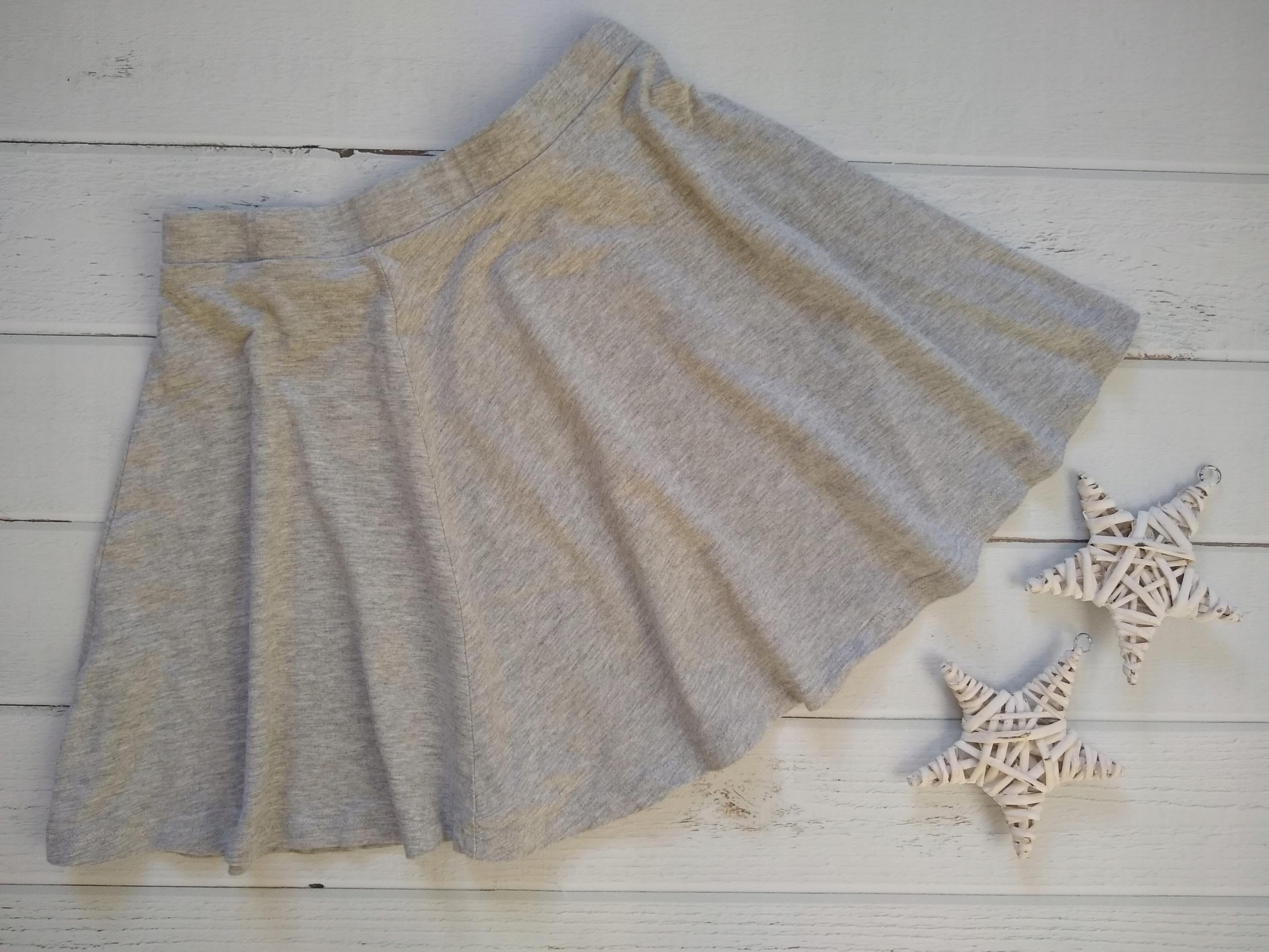 H&M spódniczka bawełna gładka szara 158 164