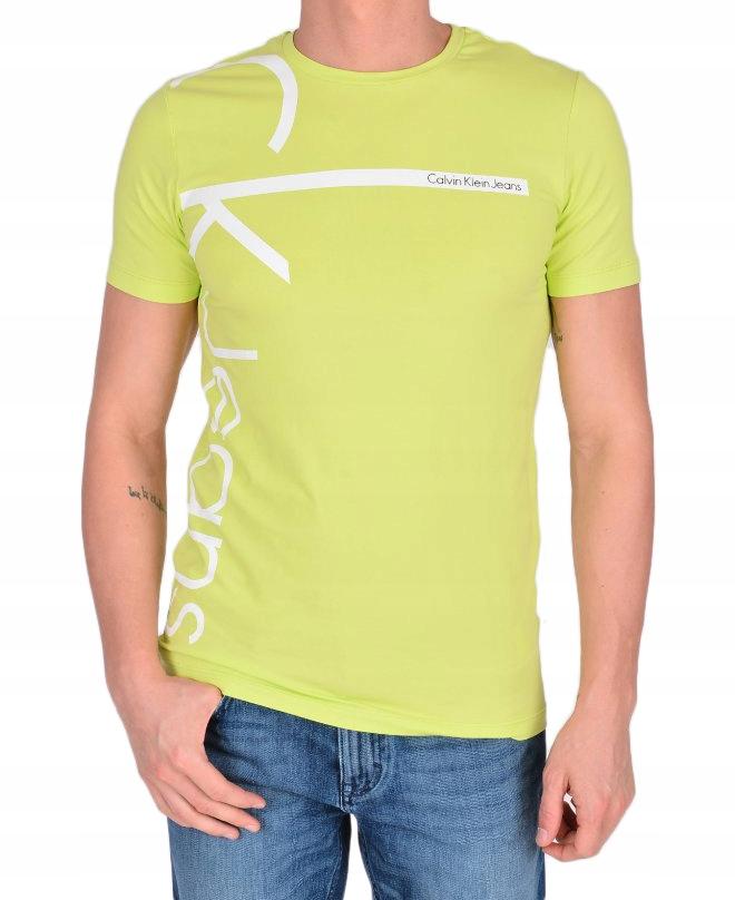 CALVIN KLEIN koszulka t-shirt zielona logo S