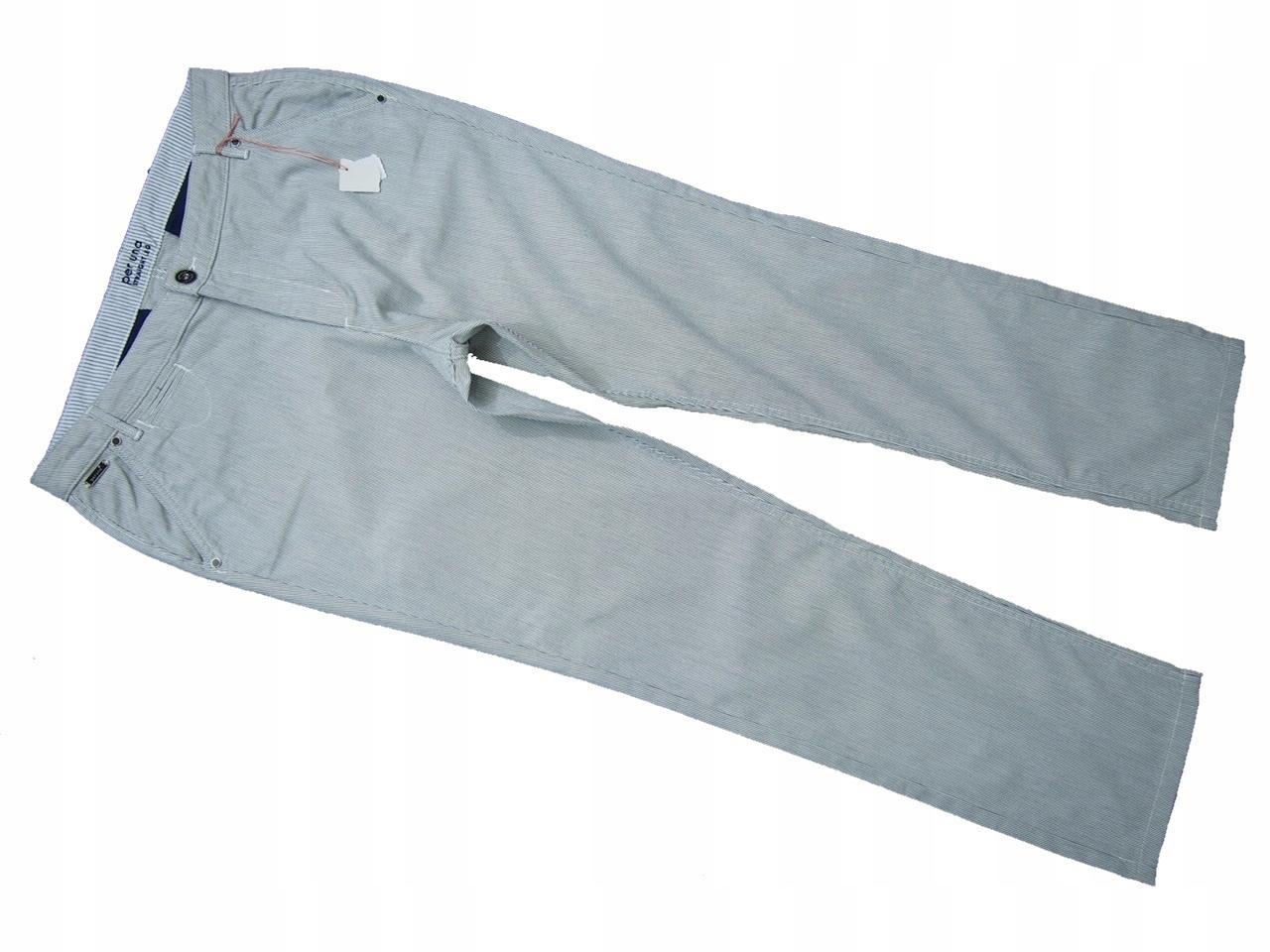 SPENCER eleganckie spodnie paski marine NOWE 44 46