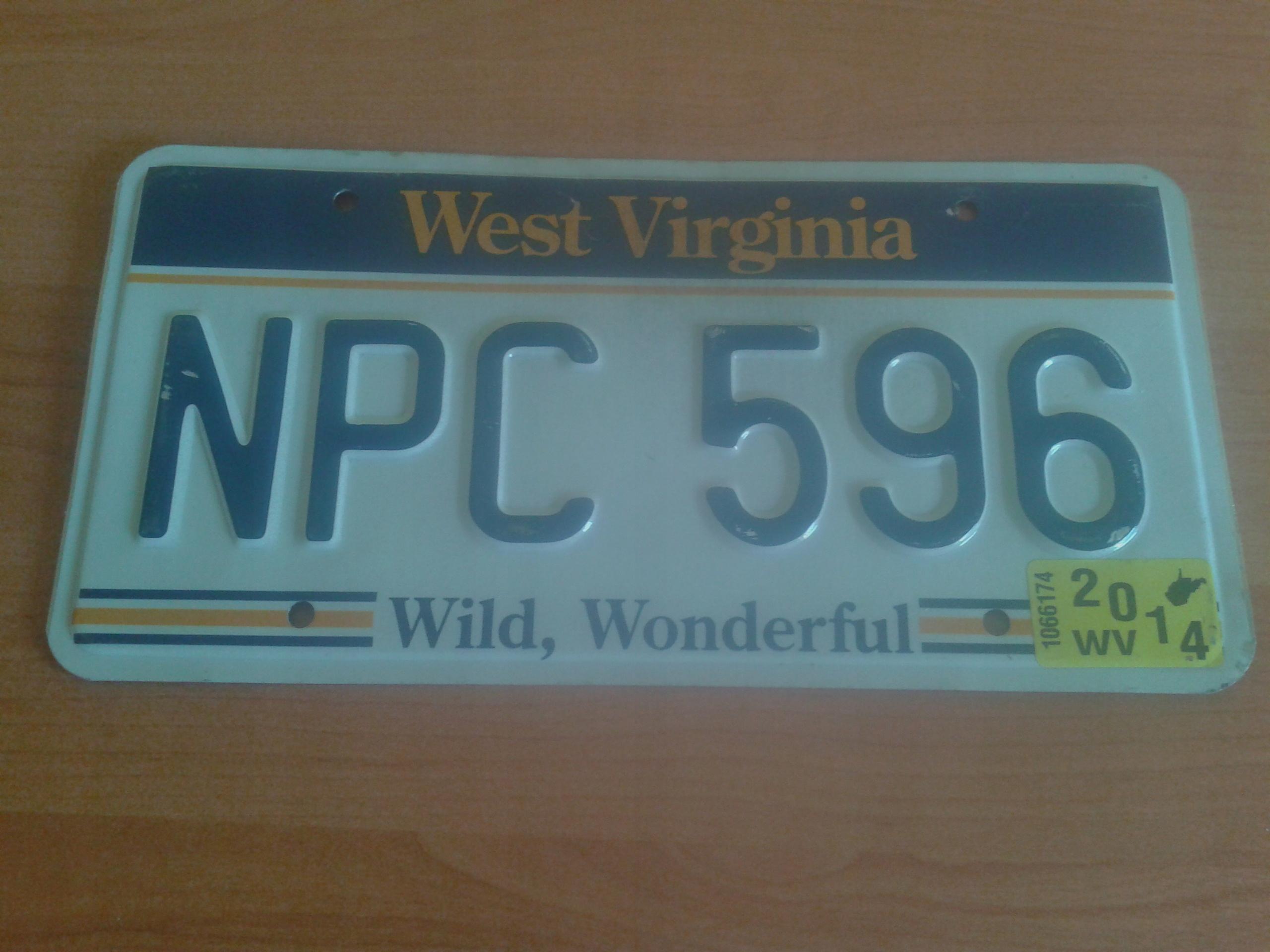 Amerykańskie tablice rejestracyjne- West Virginia