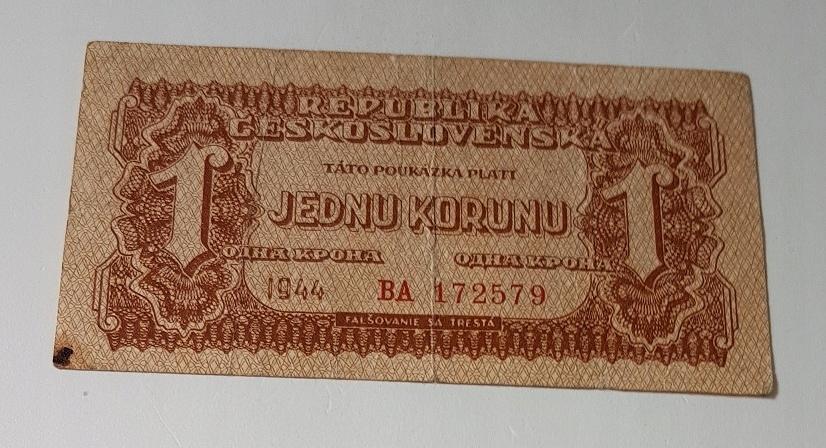 Jednu Korunu Republika Ceskoslovenska 1944 r B.C.M