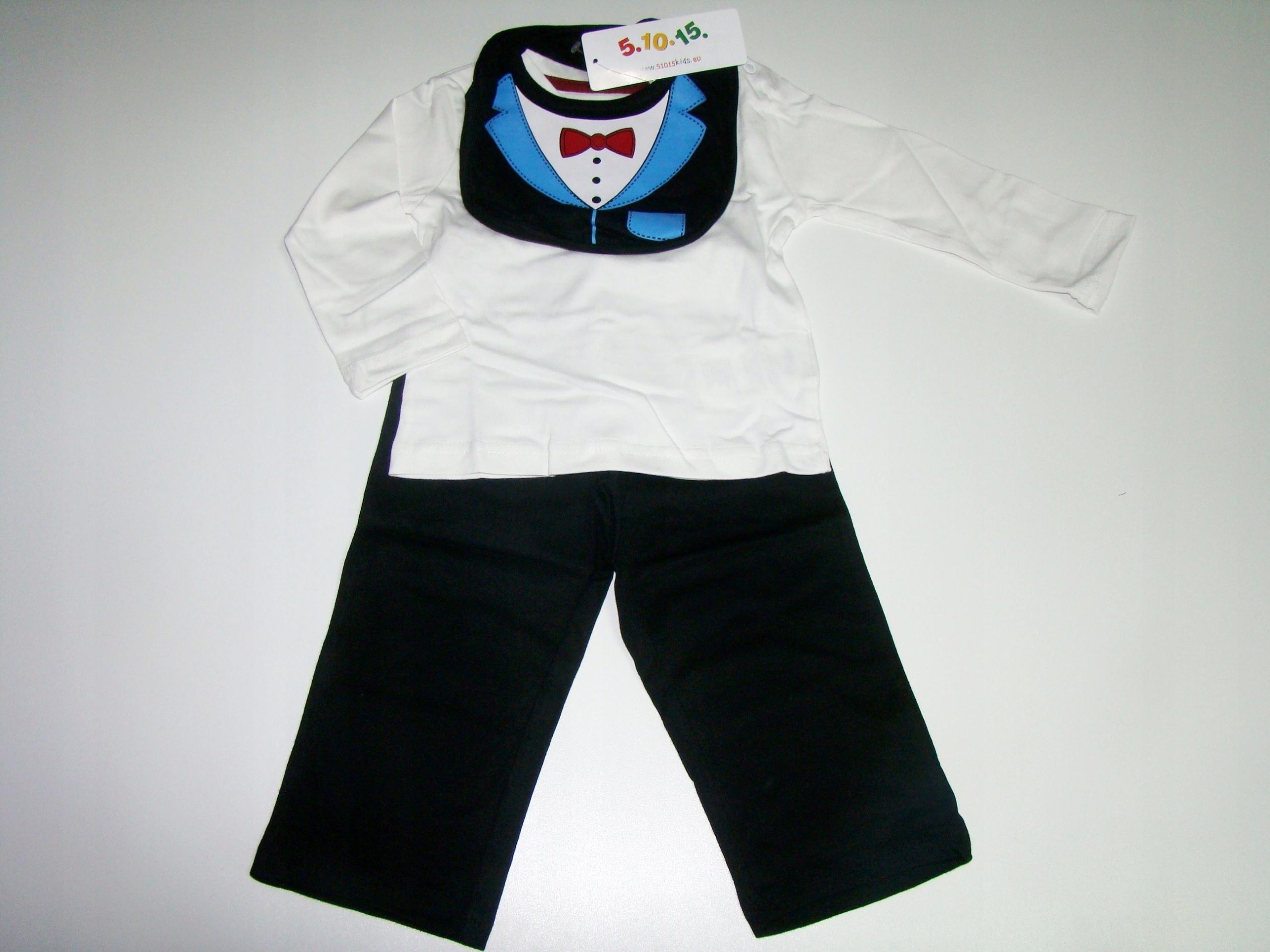 3 szt śliniak bluzka spodnie komplet 74 cm 6-9 m-c