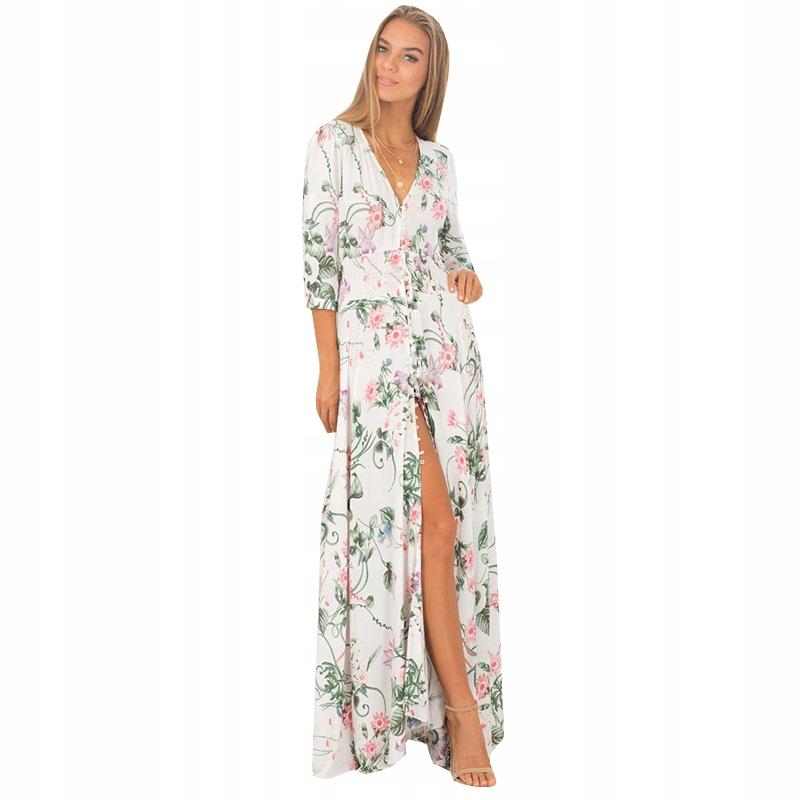 Sexy Letnia Piękna Sukienka MAXI w Kwiatki XL 42