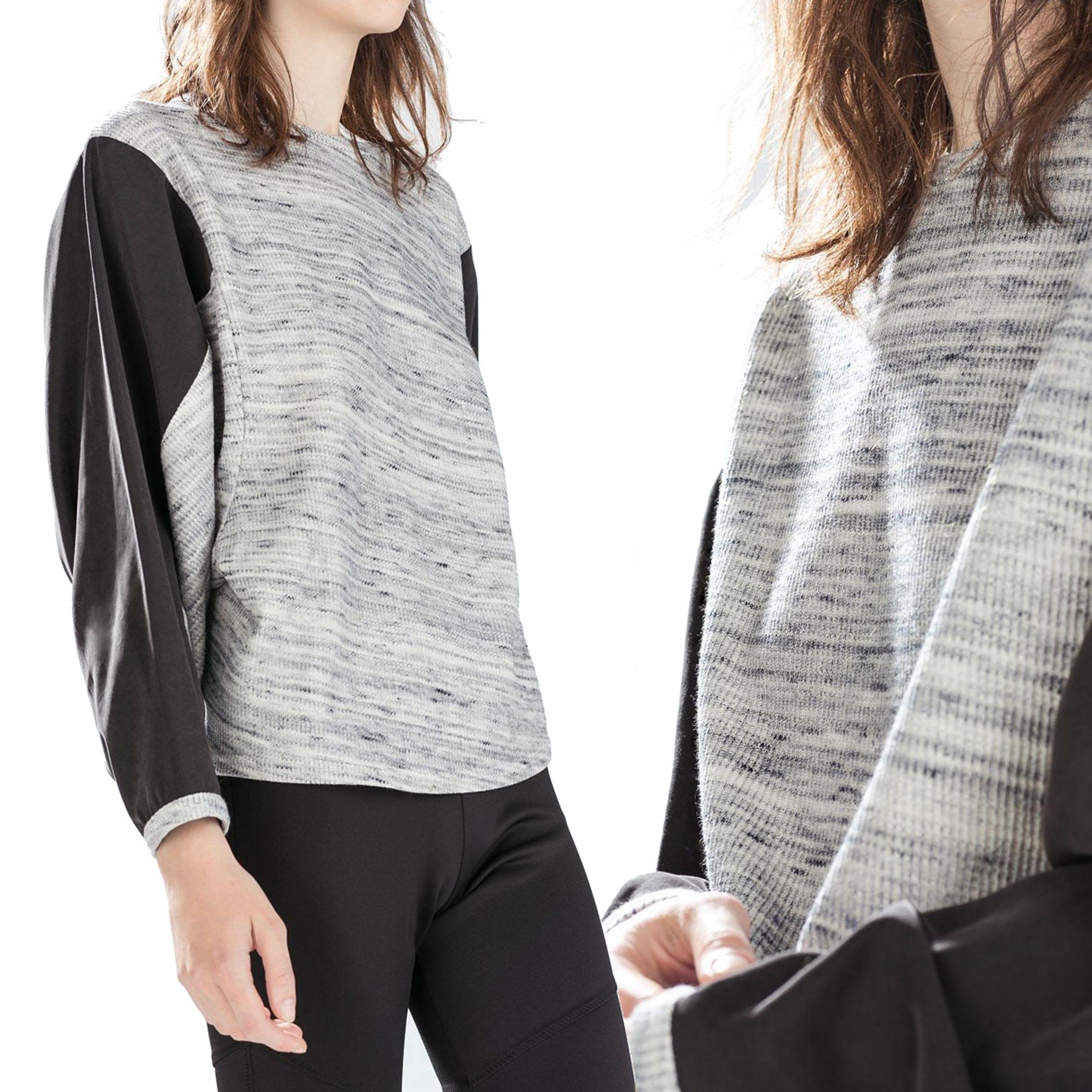 Z1 Szary Czarny Sweter oversize ściągacze S 3