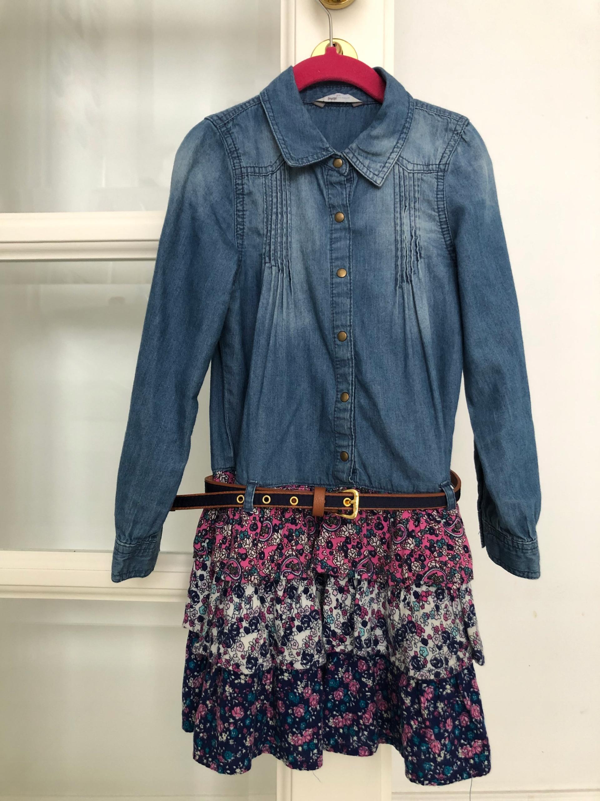 Sukienka George 122 jeansowa falbany