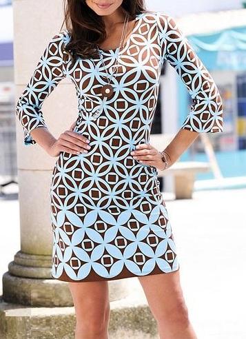 43198241cdef75 Bon Prix brąz turkus sukienka geometryczna boho - 7194661720 ...