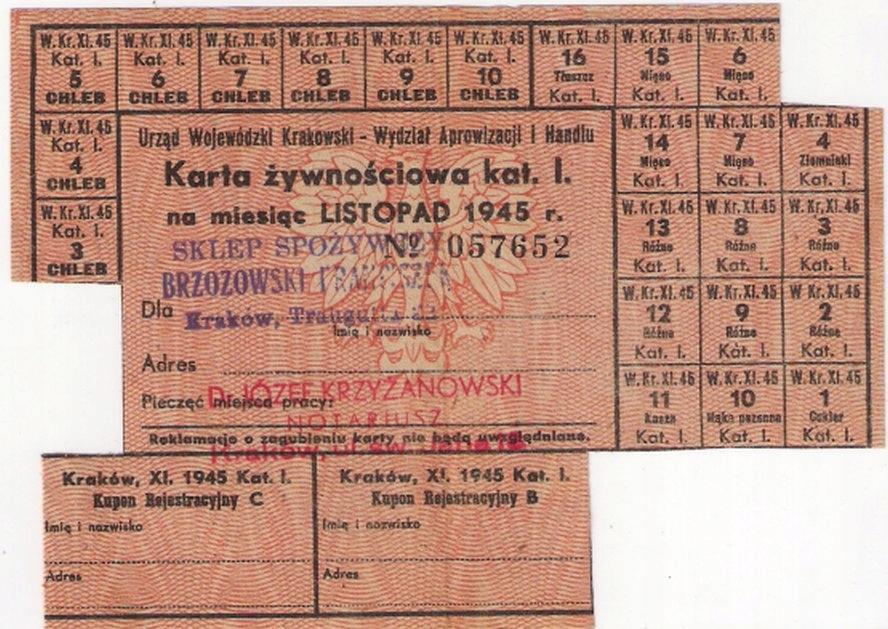 KARTA ŻYWNOŚCIOWA LISTOPAD 1945 KRAKÓW PRL