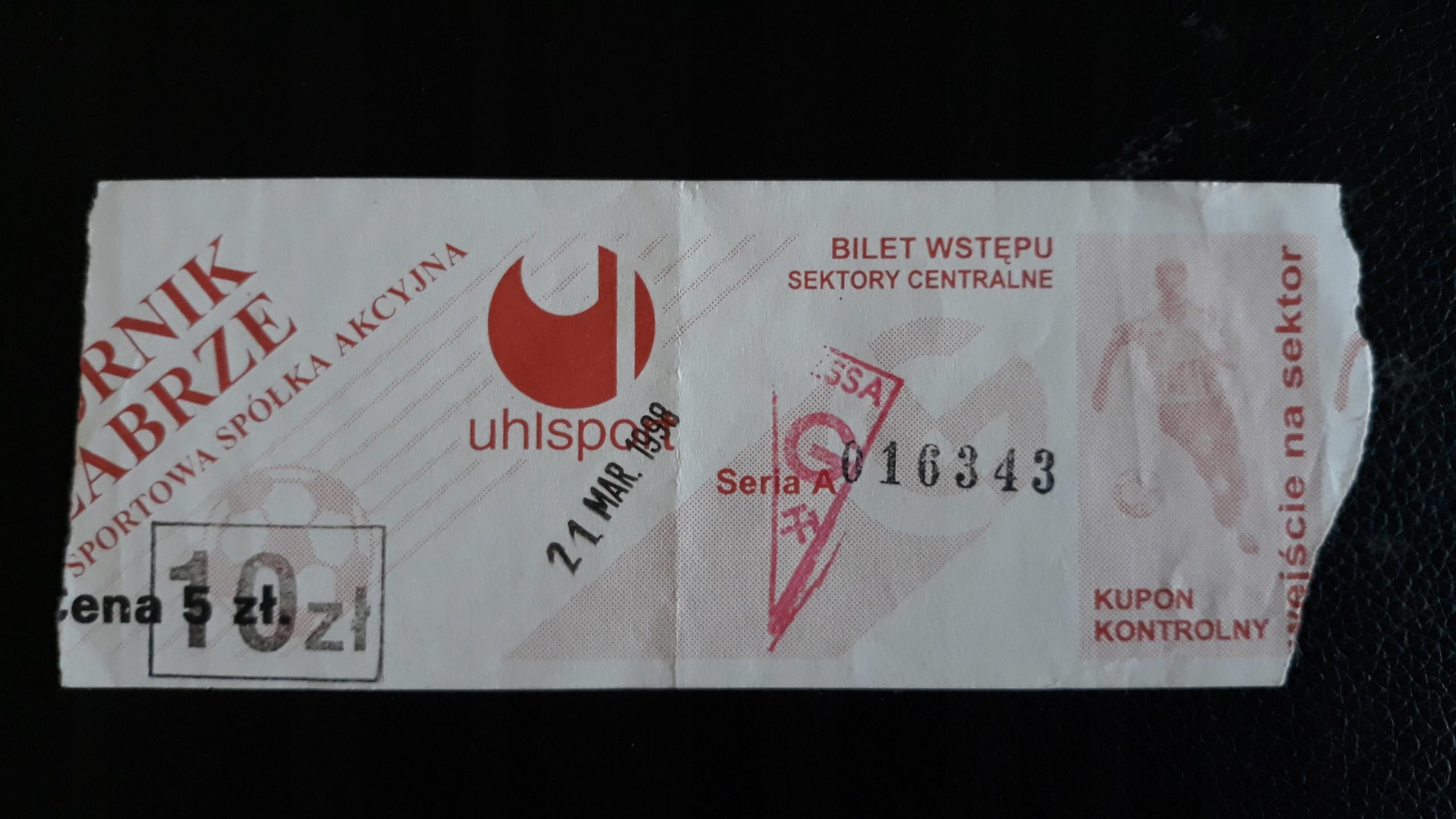 bilet Górnik Zabrze- KSZO Ostrowiec 21.03.1998