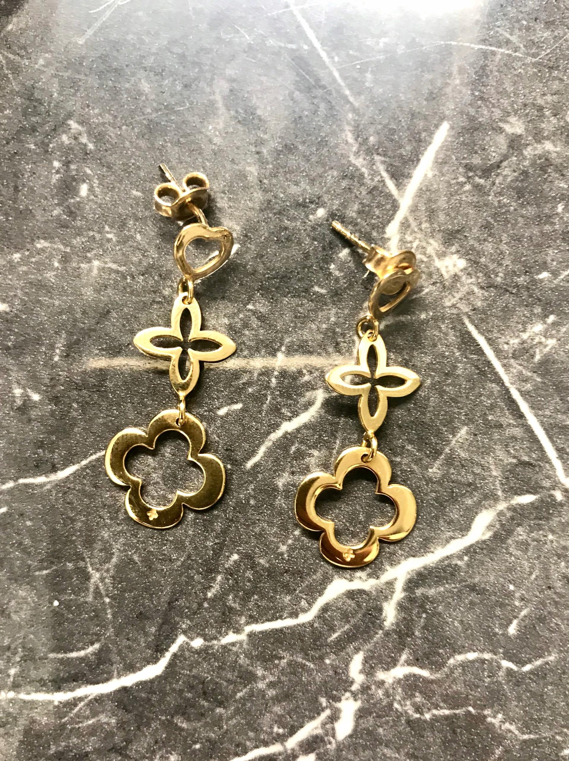 Kolczyki Lilou ażurowe koniczyna wiszące złote