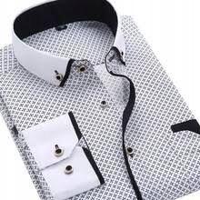 Modna męska koszula - Business Plus - biało-czarna